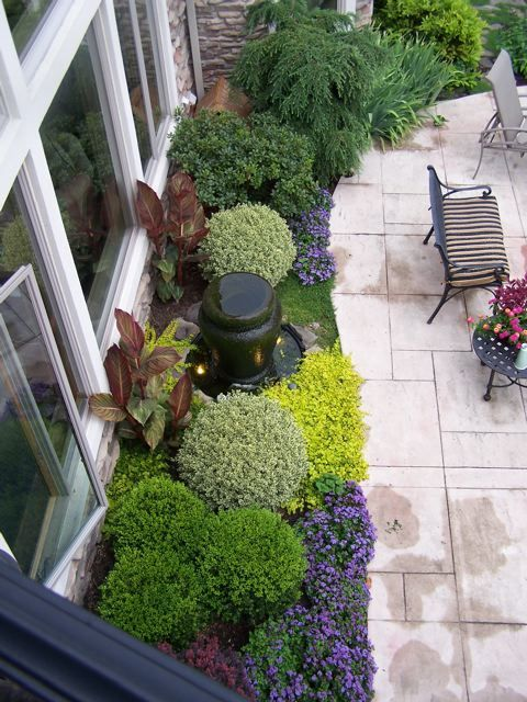 beautiful plantings using different textures and colors of green.