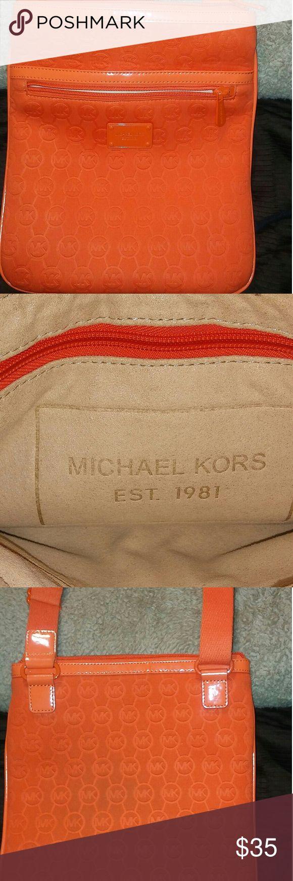 Michael Kors orange neoprene laptop tote Michael Kors orange laptop tote, previously owned great condition Michael Kors Bags Laptop Bags