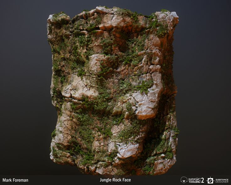 A substance for generating a rock face covered in plant growth.  Everything was made in substance designer, apart form the variation with the ARTStation logo, for which I created a height-map in Photoshop.