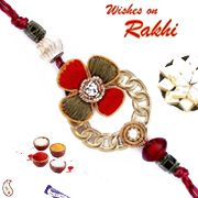 Send order Metal Hoop Floral Zardosi Rakhi gifts with flowers,chocolates and sweets for special Rakhi festival gifts delivery in Delhi,Mumbai,bangalore and all indian city delivery by  florist India.