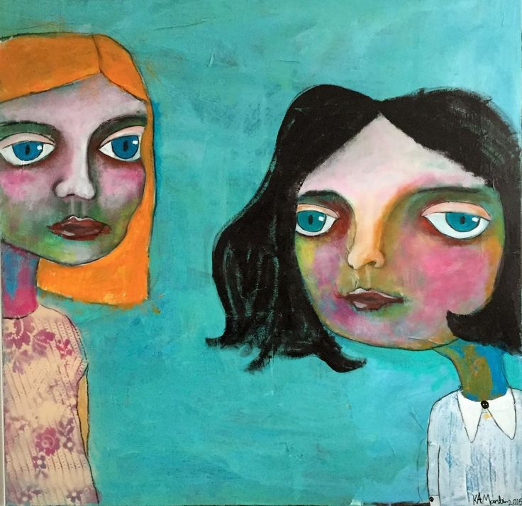 """Kari Anne Marstein -  Norwegian artist. Acrylic painting on canvas 90x90 xm. """"Blonder og mansjettknapper"""""""