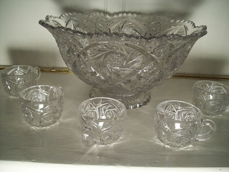 antique lead crystal punch bowl set w 5 cups love of ebay punch bowl set bowl set punch bowls. Black Bedroom Furniture Sets. Home Design Ideas