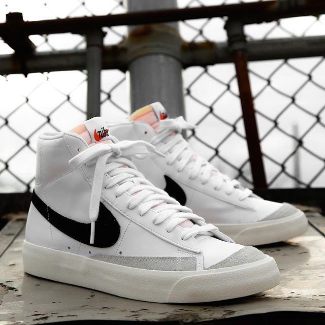 Restock Nike Blazer Mid 77 White Black Sneaker Shouts Sneakers Fashion Sneakers Outfit Nike Sneakers Outfit
