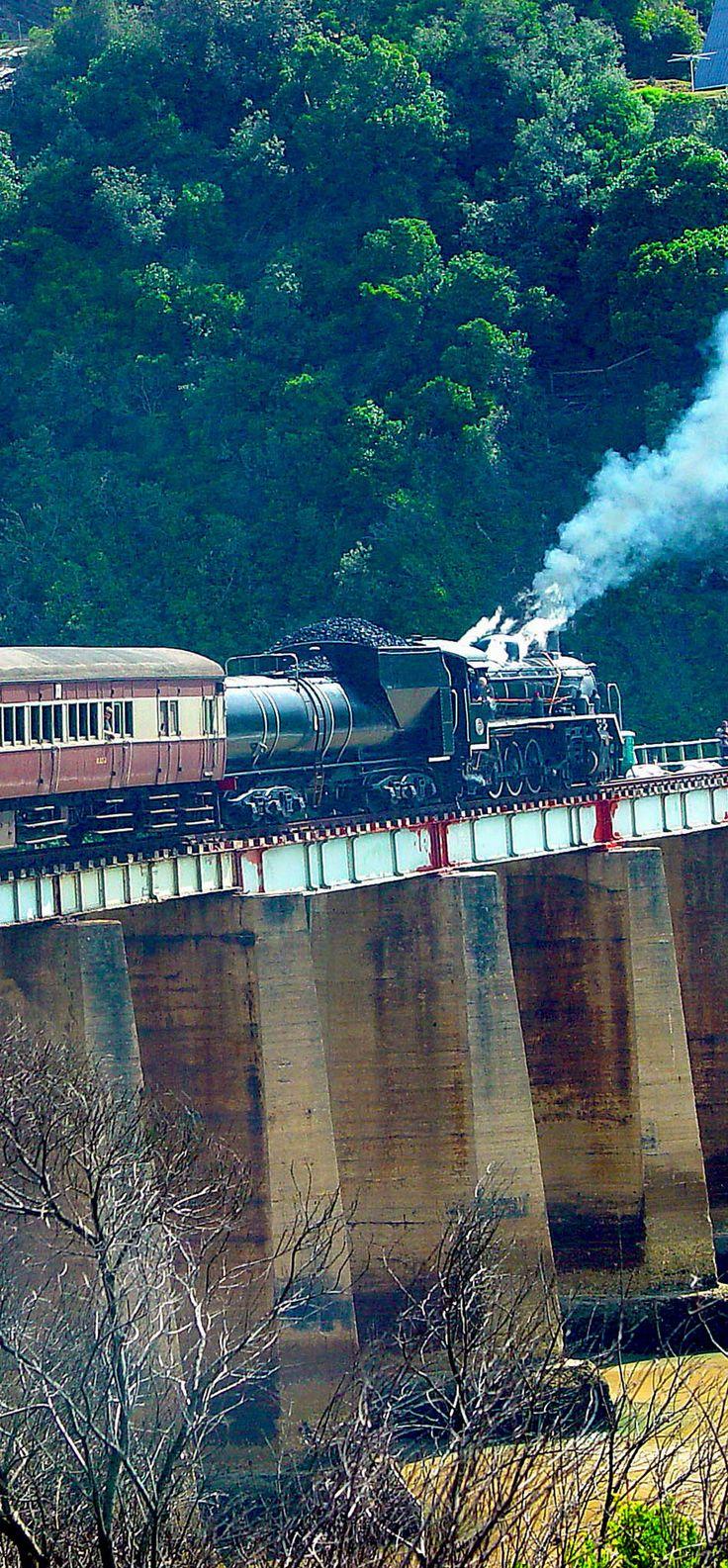 Steamtrain Outeniqua Choo-Tjoe - ofrece a los pasajeros un viaje de 52 kilometros único, pintoresco y paisajístico, Sudáfrica