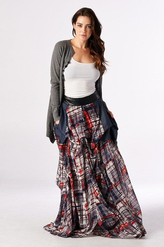 38 best denim and plaid maxi skirts images on Pinterest