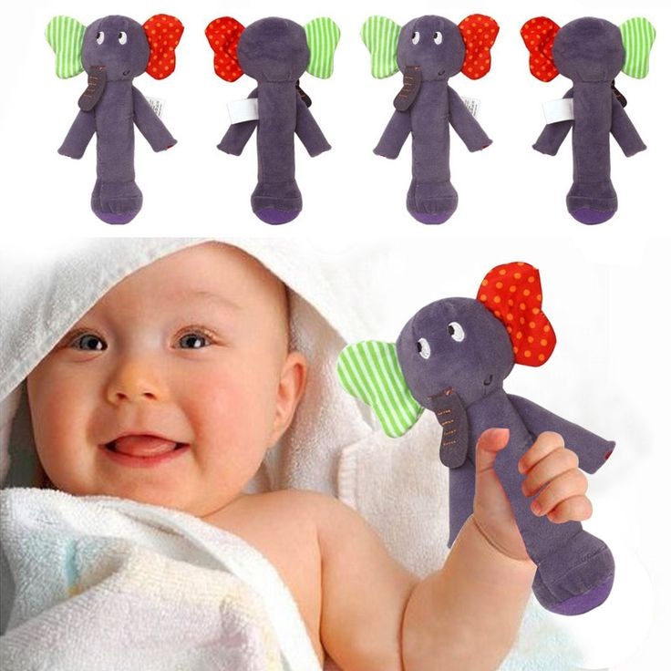 Bayi hewan mainan kerincingan bel tangan lembut plush stuffed mainan bayi terdengar mobiles handbell pendidikan toys 0-12 bulan