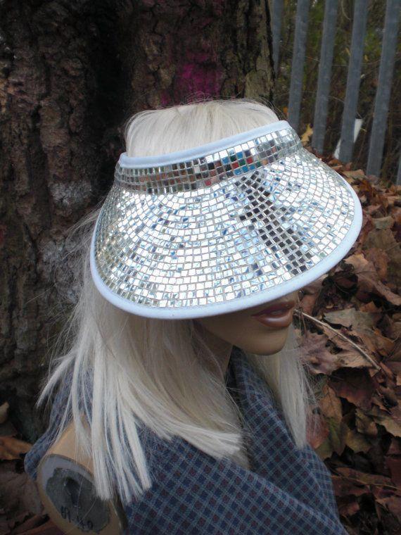 GOLD Black Mirror Ball Disco Ball Visor SINGLE SIDED Hat ...