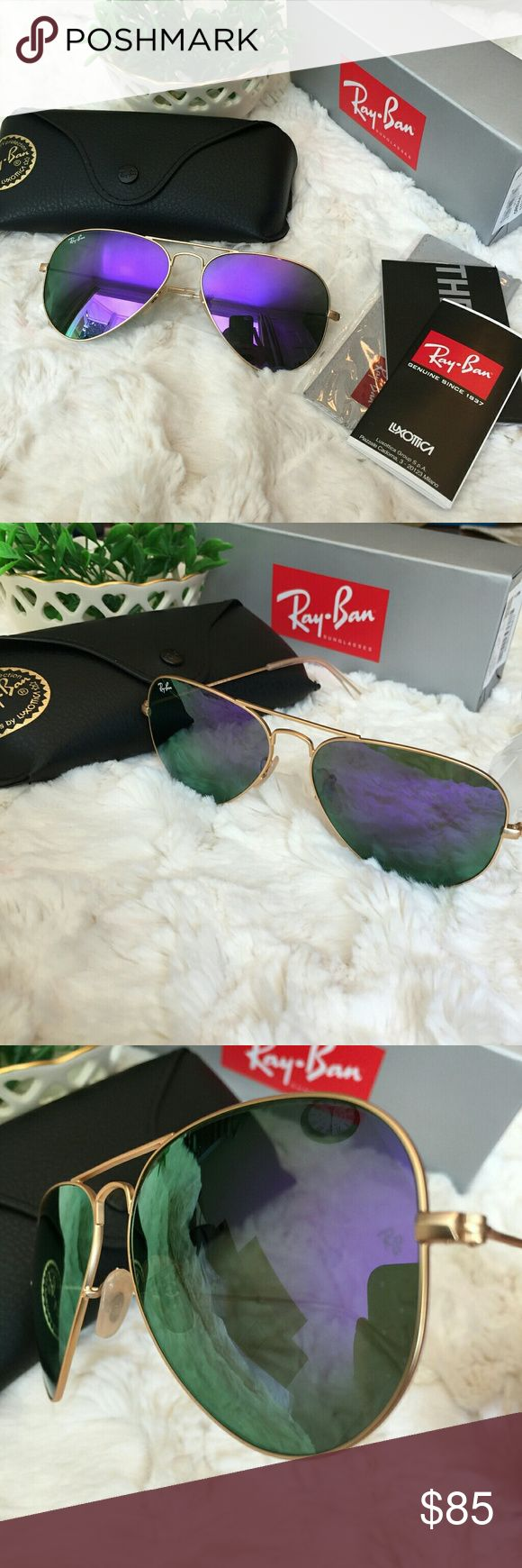 Authentic Ray Ban Aviator RB3025 in Purple gold ❤️️All my item are 100% Authentic / Real Ray ban ❤️Brand new never used  ❤️️Ray Ban Aviator RB3025 lens size 58MM ❤️made in Italy ❤️Frame color Gold ❤️come with case,cloth, booklet and box.  💕Feel free to ask any question💕 Ray-Ban Accessories Glasses