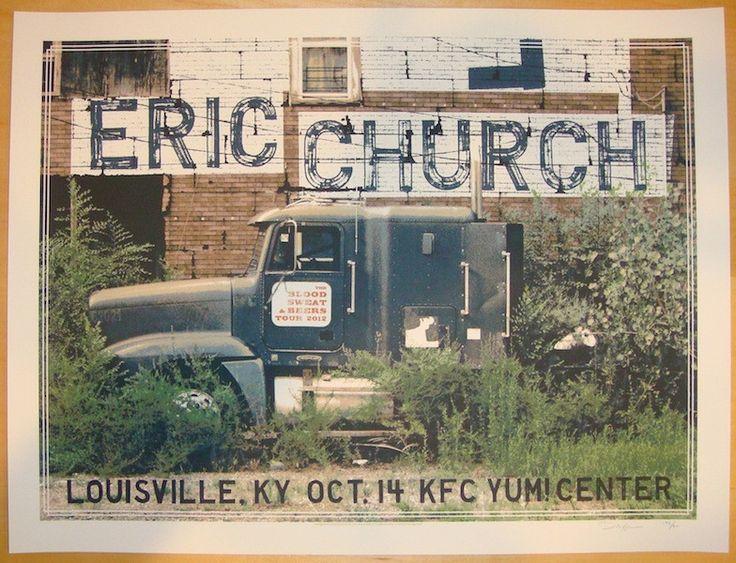 "Eric Church - silkscreen concert poster (click image for more detail) Artist: Crosshair Venue: KFC Yum! Center Location: Louisville, KY Concert Date: 10/14/2012 Size: 23"" x 17 1/2"" Edition: 200, signe"