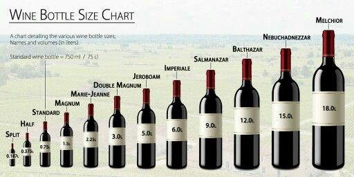 Wine bottle size chart. When size does matter. It is said that the larger bottles allow better aging. Well they do show off well.