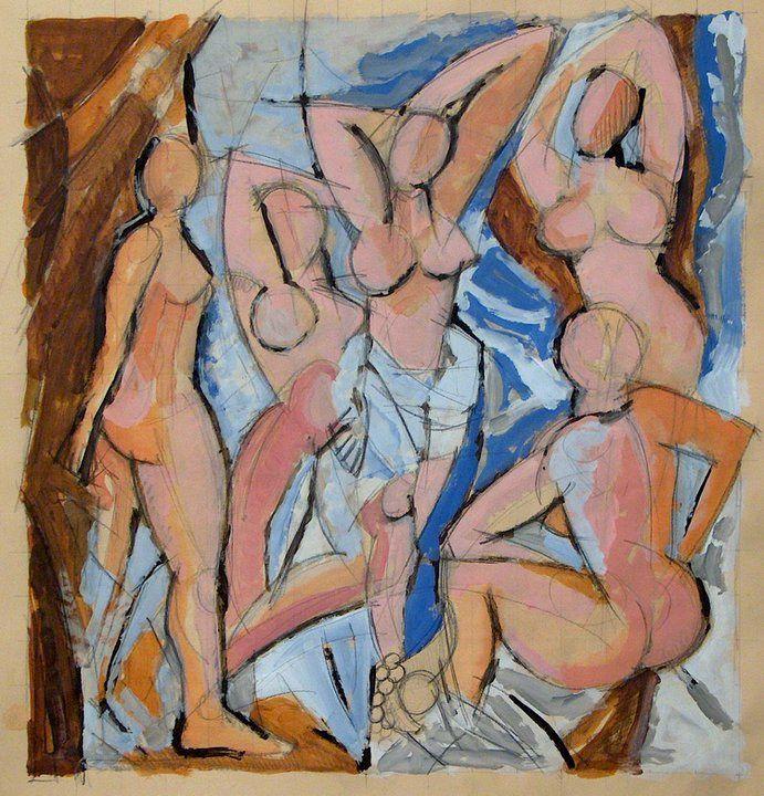Omaggio a Picasso - Bozzetto, acrilico su carta, 2009