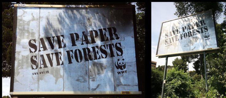 Ideia muito simples: numa colaboração com a CBS Outdoor, a WWF pintou sua mensagem com tinta spray em outdoors sem papel usando tinta removível.   Os anúncios mais impactantes da WWF vão te fazer pensar sobre a natureza