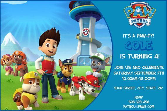 Paw Patrol DIGITAL Birthday Invitation. by SandInMyShoesDesigns, $8.50   Paw Patrol Party ...