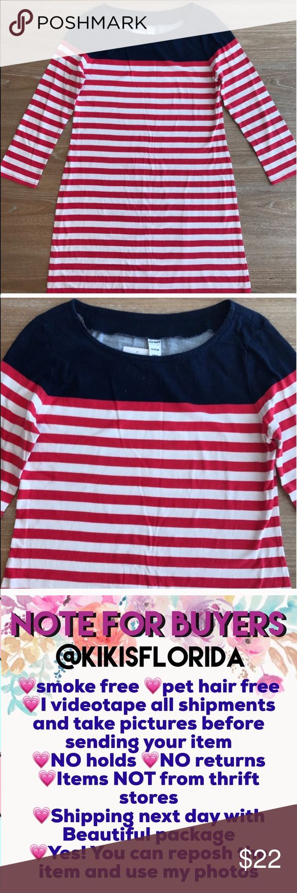 OLD NAVY NAUTICAL SUMMER DRESS Beautiful stripes dress 3/4 sleeves.  Spandex fabric. Super comfy, works great with leggings. Item#1                                                                         💗Condition: NWT, No flaws 💗Smoke free home 💗No trades, No returns 💗No modeling  💗Shipping next day 💗OPEN TO reasonable OFFERS  💗BUNDLE and save more 💗All transactions video recorded to ensure quality. #119 Old Navy Dresses Mini