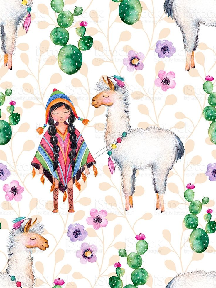 American Indian girl in traditional poncho and lama royalty-free stock illustration