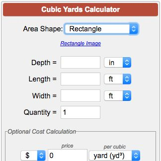 Calculate cubic yards, cubic feet or cubic meters for landscape material, mulch, land fill, gravel, cement, sand, containers, etc. Enter measurements in US or metric units and get volume conversions to other units. How to calculate cubic yards for rectangular, circular, annular and triangular areas. Calculate project cost based on price per cubic foot, cubic yard or cubic meter.