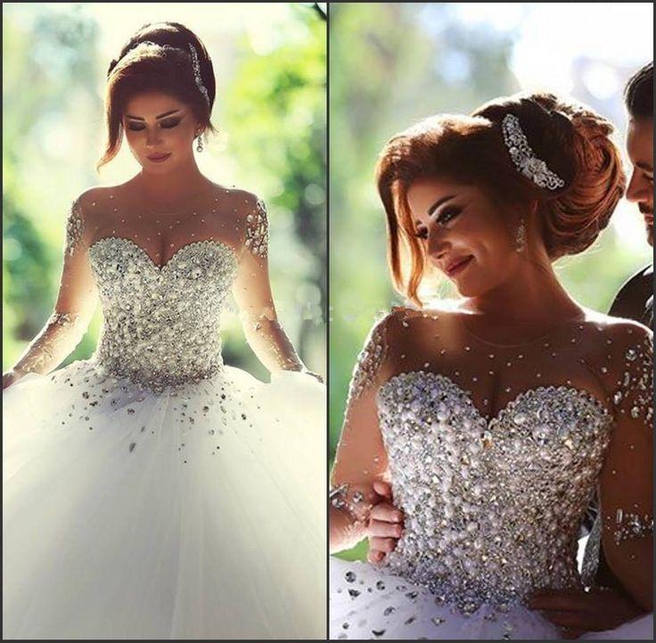 Wedding dresses plus size sleeve bling