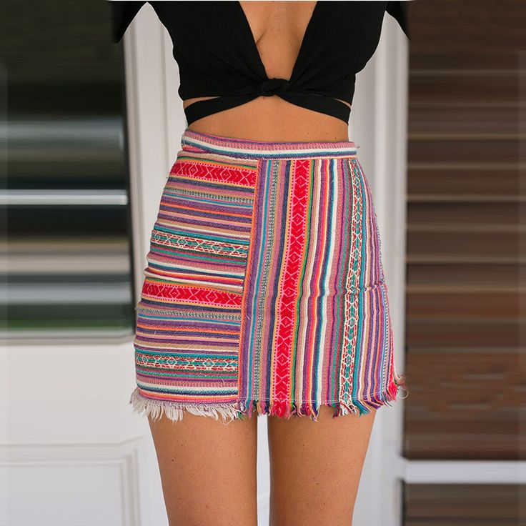 Omei Fashion Stripe Tight A-Line Skirt (Red or Orange) - $17