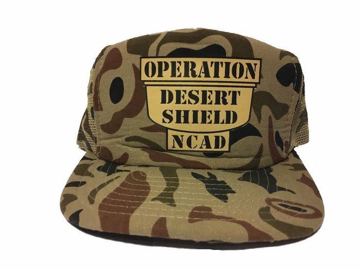 Vintage Snapback Trucker Hat Operation Desert Shield NCAD Camo Pattern #DesignerAward #TruckerHat