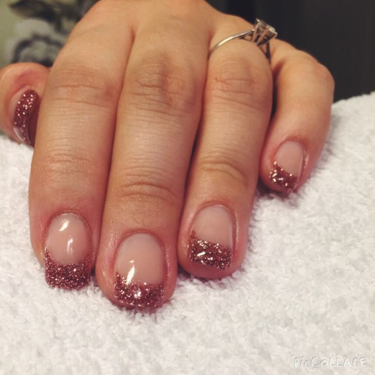 Gel nails with glitter tip - BeautyForYou_bliny @ instagram / Facebook