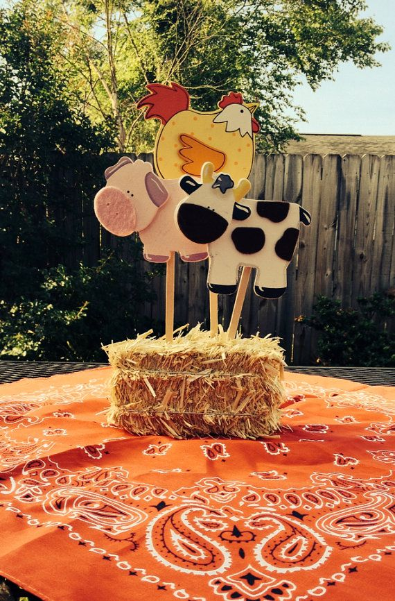 Centerpiece Idea for Picnic Table - use small haybale with wooden animals at ACMoore (horse, pig, cow?) - attach to wooden dowels