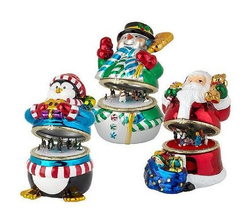 6599 12000 Mr Christmas Animated Music Boxes 6 Piece Set 1 Each Snowman Penguin Santa Claus Gift Bags