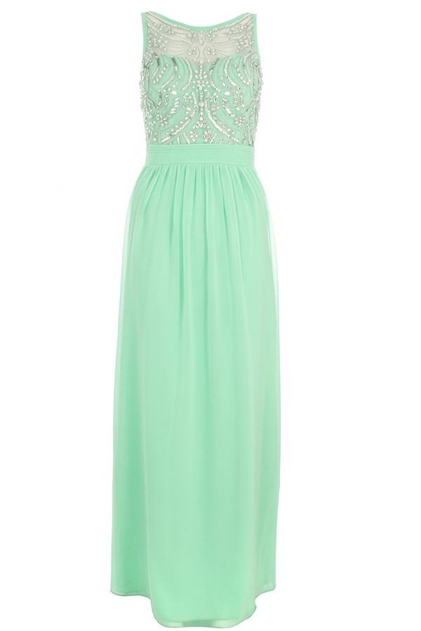 Quiz Mint Chiffon Sequin Embellished Maxi Dress On Shopstylecouk 5499