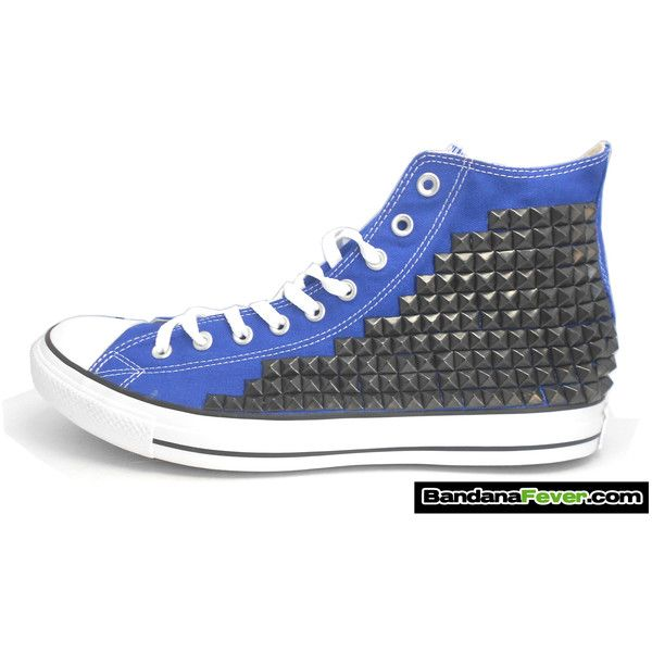Bandana Fever Custom Studded Royal Blue Converse All-Star Chuck Taylor... ❤ liked on Polyvore featuring shoes, sneakers, spike shoes, black studded sneakers, black shoes, oxford shoes and royal blue sneakers
