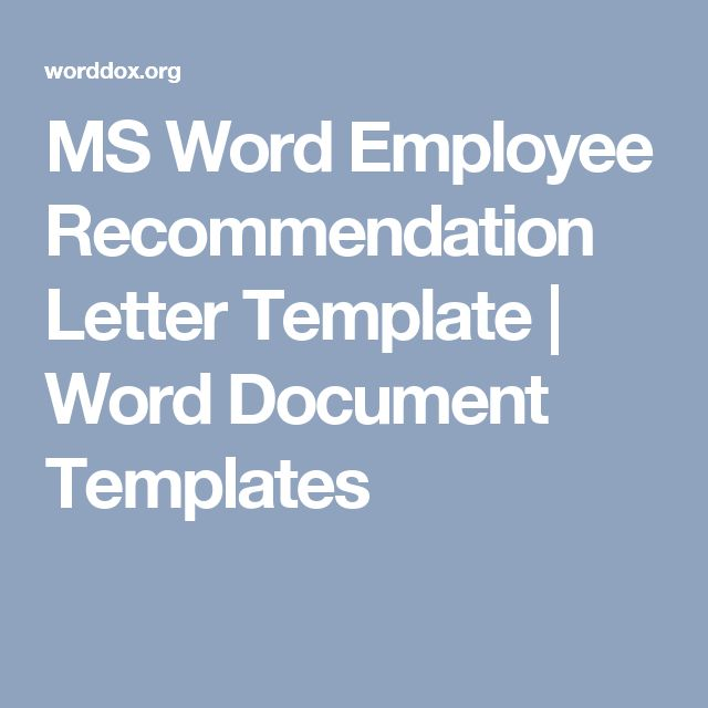 MS Word Employee Recommendation Letter Template | Word Document Templates
