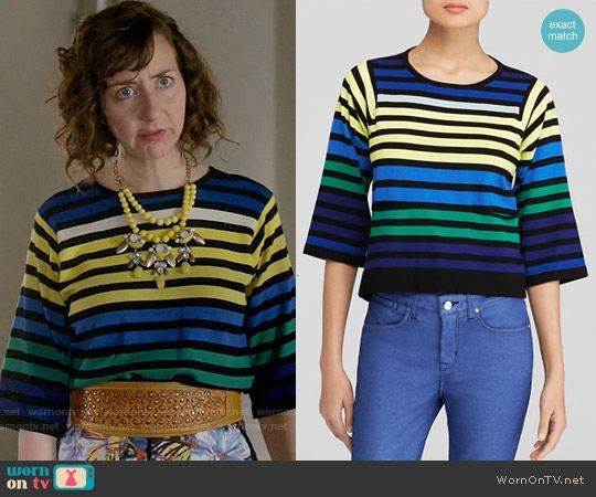Carol's blue and yellow striped top on Last Man on Earth.  Outfit Details: https://wornontv.net/57090/ #LastManOnEarth
