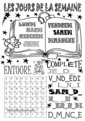 Dictionnaire visuel, les exercices pour entraîner les jours de la semaine. - Fiches FLE
