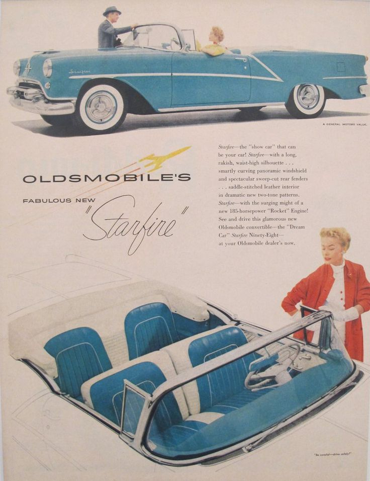 1960s Matted Vintage American Car Advertisement, Oldsmobile Starfire. A fabulous lithographic car advertisement printed in the 1960s featuring the Starfire and extolling the advantages (including its rakish silhouette and curving panoramic windshield!).