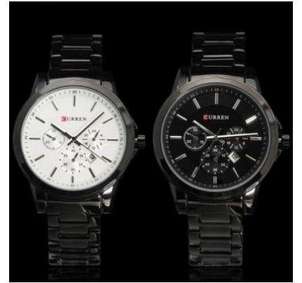 CURREN 8129 Men's Black Stainless Steel Band Round Quartz Dial Wrist Watch w/ Calendar White/ Black Dial