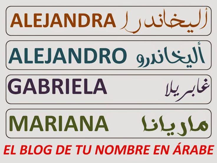 NOMBRES EN ARABE ALEJANDRO ALEJANDRA GABRIELA MARIANA