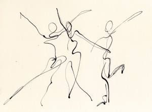 three dancers, pen & ink line drawing  chris carter