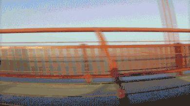 Crossing the Golden Gate Bridge.