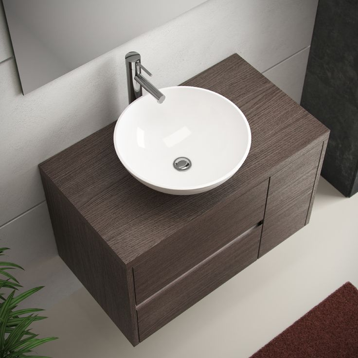 Mueble de ba o aries de 80 en color roble medio con lavabo for Lavabo de sobreponer