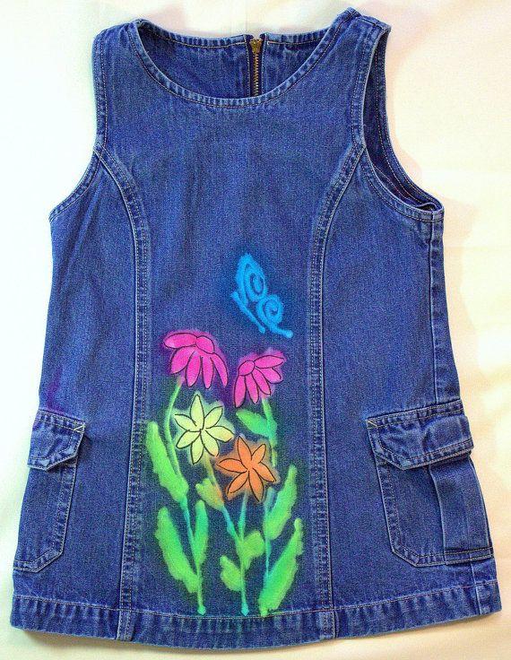 Girls Dyed Denim/Jean Jumper Flying Flowers by CreationsByNealia