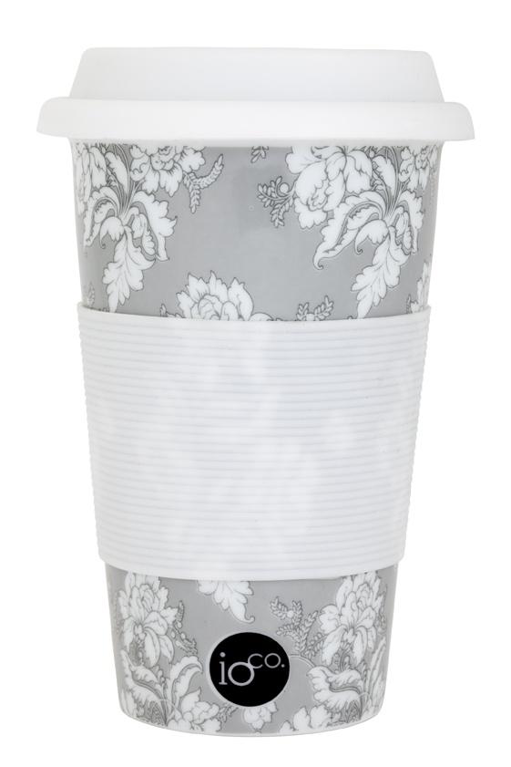 tonal... grey white and black floral print...   ioco coffee and tea ceramic travellers... shop now www.ioco.com.au
