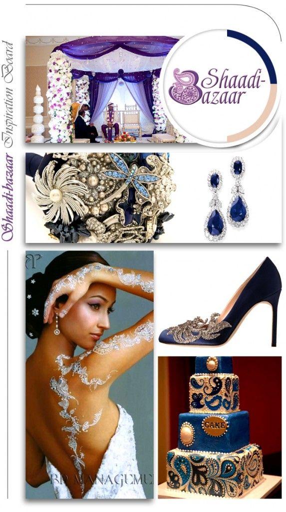 Indian wedding inspiration board of blue wedding shoes, blue paisley wedding cake, silver henna designs, blue anarkali, blue mandap #shaadibazaar