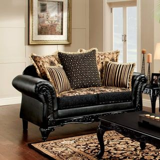 Shop for Furniture of America Kaver Traditional Chenille Fabric and Faux Leather Black Loveseat. Get free shipping at Overstock.com - Your Online Furniture Outlet Store! Get 5% in rewards with Club O! - 20932814