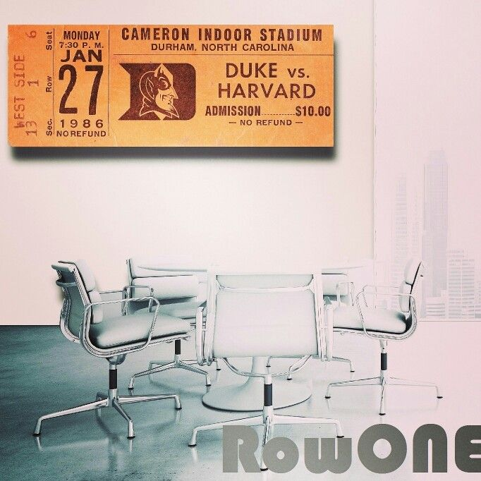 1986 Duke basketball ticket canvas art by Row One™ Brand. As seen on Forbes.com Printed in the U.S.A. #duke #bluedevils #northcarolina #harvard #collegebasketball #art #gifts #giftideas