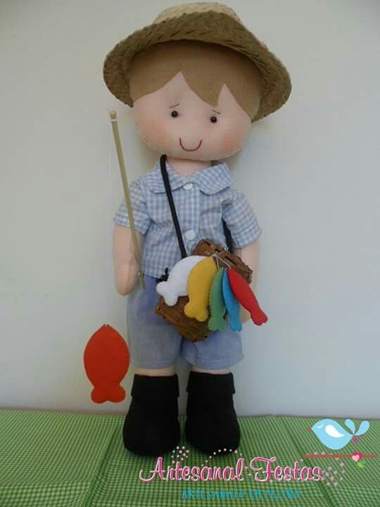 felt boy doll going fishing