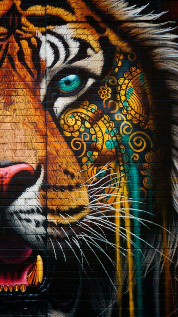 Pin By Sharathkumar On خلفيات Tiger Art Animal Paintings Art Tiger tattoo mobile wallpaper hd