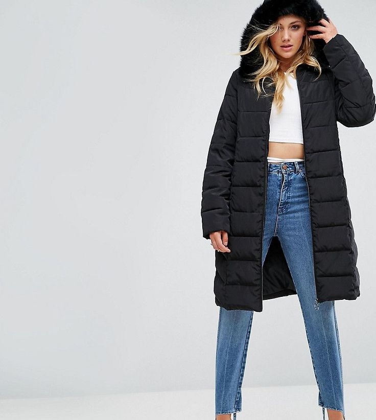 ASOS TALL Longline Puffer Coat with Faux Fur Trim Hood - Black