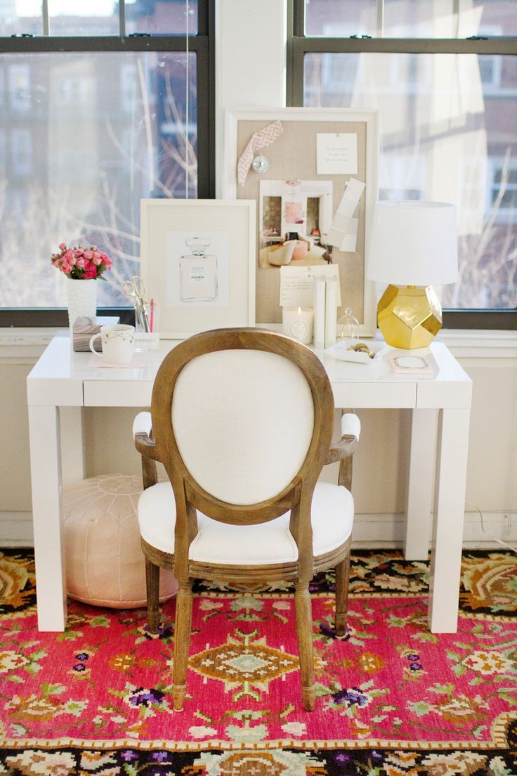 232 best dream house office images on pinterest office spaces how to style a west elm parsons desk white lacquer pink gold white feminine elegant home office space photography by danielle moss