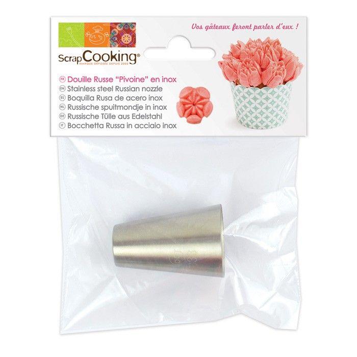 Douille en inox Scrapcooking pour réaliser des glacages en forme de fleurs, plus précisement de pivoines sur vos pâtisseries - Youdoit.fr