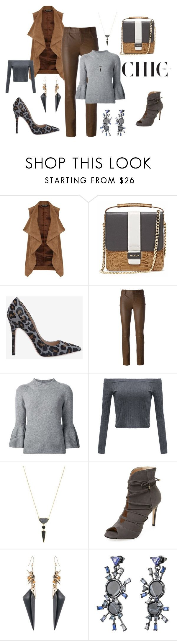 """""""Stouls skinny leather trousers"""" by cheryl-williams-286 ❤ liked on Polyvore featuring Dorothy Perkins, Jean-Michel Cazabat, STOULS, Carolina Herrera, Jessica Simpson, Elorie, Alexis Bittar and Eddie Borgo"""
