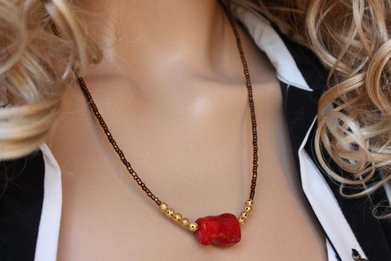 Minimal Seed Bead and Coral  Necklaces by MonroeJewelry on Etsy