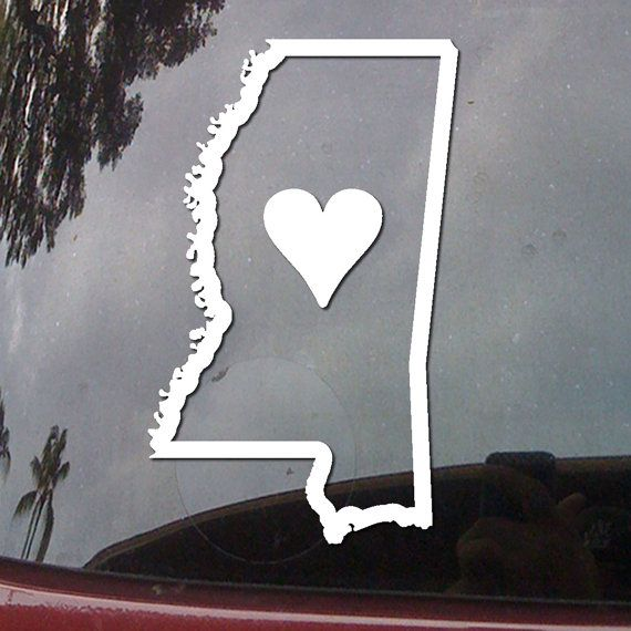 Mississippi State Outline Love Heart Car Truck Van